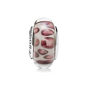 Pandora Retired Snow Leopard Murano Glass Charm